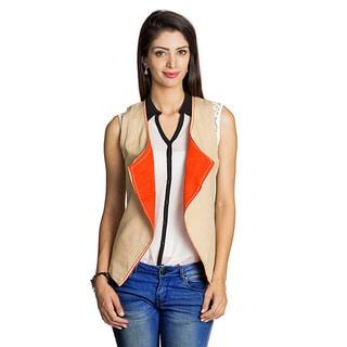 Handmade MOHR Women's Beige/ Orange Reversible Vest (India)