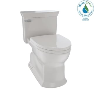 Toto Eco Soirée One Piece Elongated 1.28 GPF Universal Height Skirted Toilet with CeFiONtect, Sedona Beige (MS964214CEFG#12)