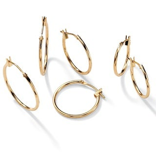 PalmBeach Three-Pair Set of Hoop Earrings in 10k Gold Tailored