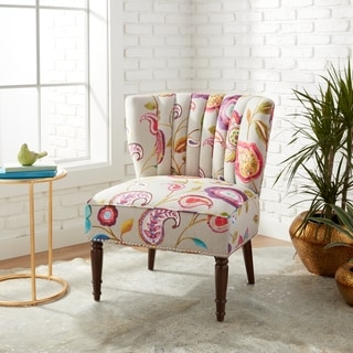 Tori Floral Pattern Channel Back Accent Chair
