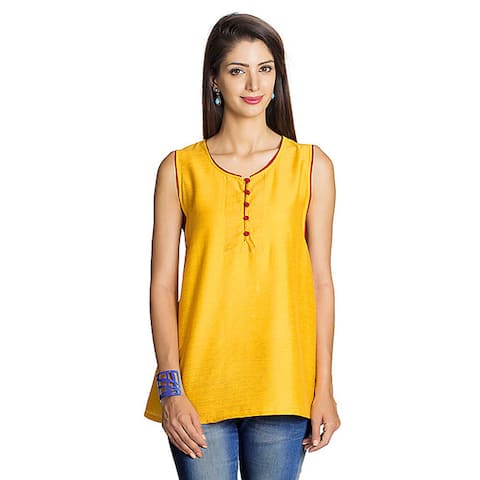 Handmade MOHR Women's Dark Yellow Button-placket Sleeveless Tunic (India)