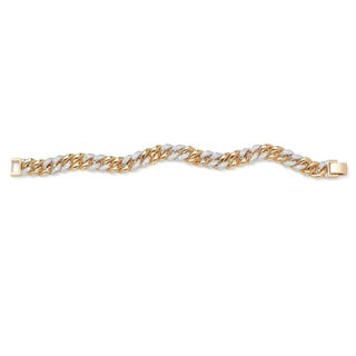 PalmBeach Men's 1.35 TCW Round Cubic Zirconia 14k Yellow Gold-Plated Curb-Link Bracelet 8""
