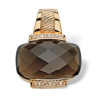 PalmBeach 35.73 Carat Cushion-Cut Genuine Smoky Quartz 14k Yellow Gold-Plated Slide Pendant/Pearl Enhancer