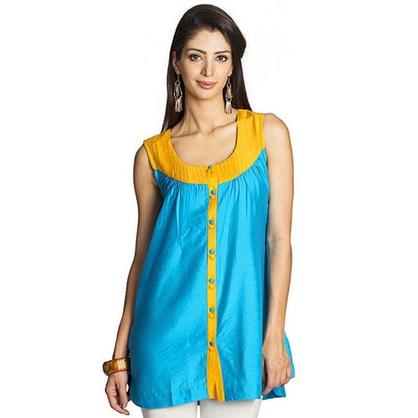 Handmade MOHR Women's Blue Sleeveless Pintucked Yoke Tunic (India)