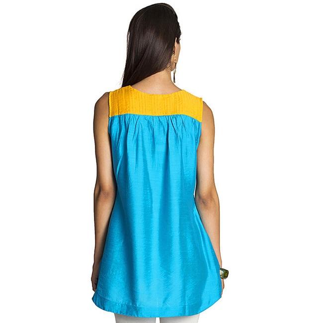 MOHR Womens Sleeveless Tunic Shirt with Pintuck Yoke