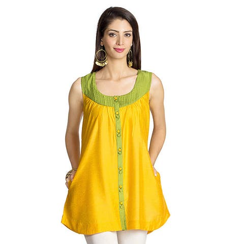 Handmade MOHR Women's Yellow Pintucked Yoke Sleeveless Tunic (India)