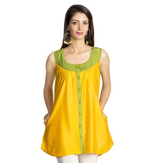 MOHR Women's Yellow Pintucked Yoke Sleeveless Tunic (India)