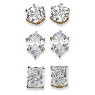 19.56 TCW Multi-Shaped Three-Pair Set of Cubic Zirconia Stud Earrings 14k Yellow Gold-Plat