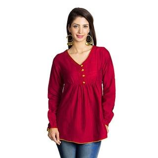 Handmade MOHR Women's Dark Red Button-placket Long Sleeve Tunic (India)