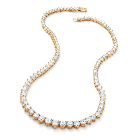 "26.23 TCW Round Cubic Zirconia 14k Gold-Plated Eternity Necklace 16"" Classic CZ"