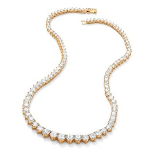 """Link to 26.23 TCW Round Cubic Zirconia 14k Gold-Plated Eternity Necklace 16"""" Classic CZ Similar Items in Necklaces"""