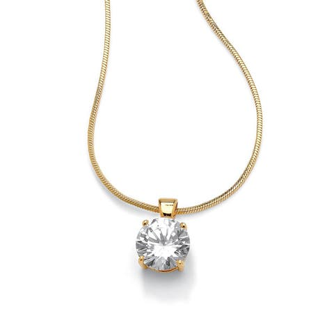 """4 TCW Round Solitaire Cubic Zirconia Pendant Necklace 14k Yellow Gold-Plated 16"""" Classic C"""