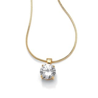 "4 TCW Round Solitaire Cubic Zirconia Pendant Necklace 14k Yellow Gold-Plated 16"" Classic C"