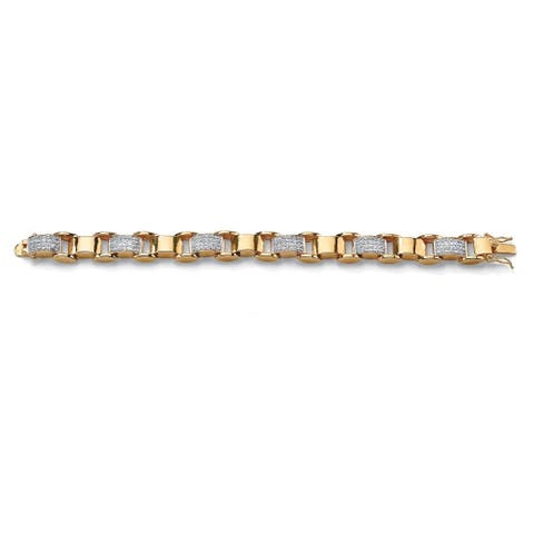 Men's Yellow Gold-Plated Link Bracelet (12mm), Round Cubic Zirconia, 8.75""