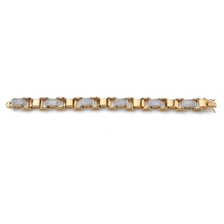 PalmBeach Men's 3.50 TCW Round Cubic Zirconia 14k Yellow Gold-Plated Bar-Link Bracelet 8 3/4""