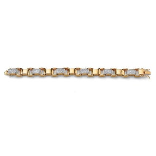 Men's 3.50 TCW Round Cubic Zirconia 14k Yellow Gold-Plated Bar-Link Bracelet 8 3/4""