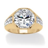 Men's 6 Carat Round Cubic Zirconia Octagon Ring 14K Gold-Plated