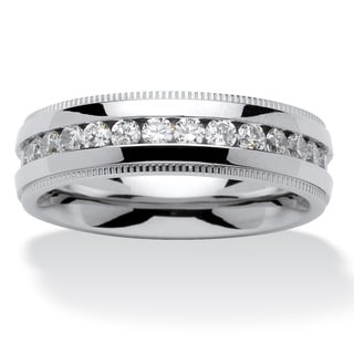 PalmBeach Men's 1.12 TCW Round Cubic Zirconia Eternity Band in Stainless Steel Sizes 8-16