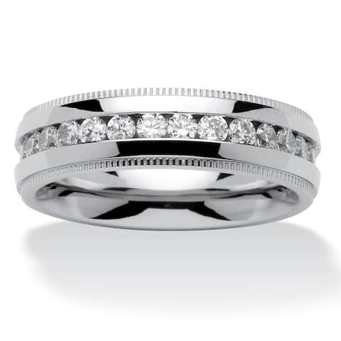 Men's 1.12 TCW Round Cubic Zirconia Eternity Band in Stainless Steel Sizes 8-16