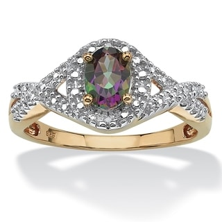 1.11 TCW Mystic Fire Oval-Cut Topaz Ring With Diamond Accents in 18k Gold over Sterling Si