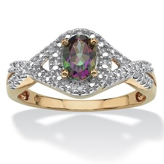 18K Yellow Gold over Silver Mystic Fire Topaz and Diamond Accent Ring