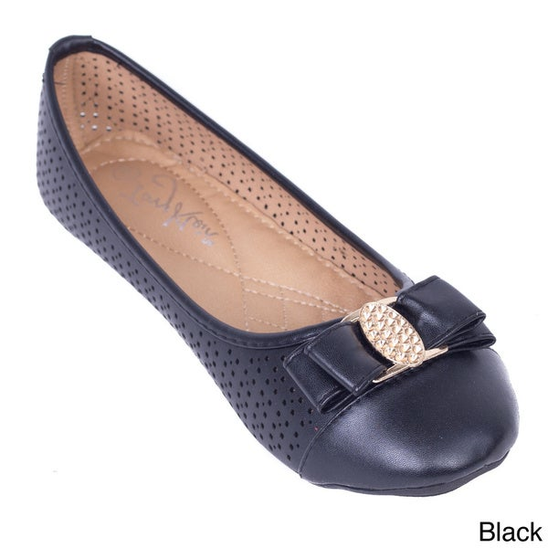 Women's Shimmering Buckle Perforated Ballerina Flats