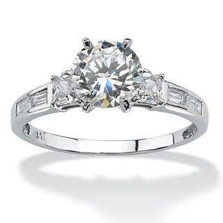 2.14 TCW Round Cubic Zirconia and Baguette Accents Ring in 10k White Gold Classic CZ