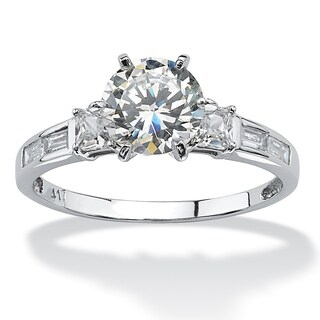 10K White Gold Cubic Zirconia Engagement Ring (More options available)