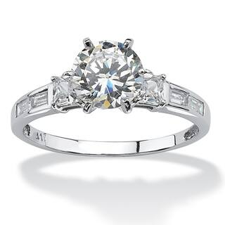 214 TCW Round Cubic Zirconia And Baguette Accents Ring In 10k White Gold Classic CZ