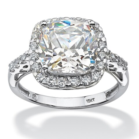 10K White Gold Cubic Zirconia Halo Engagement Ring