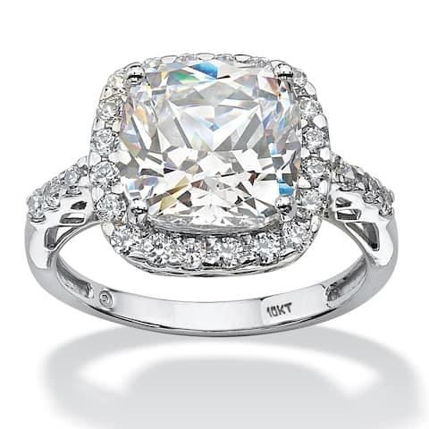 10K White Gold Cubic Zirconia Halo Engagement Ring