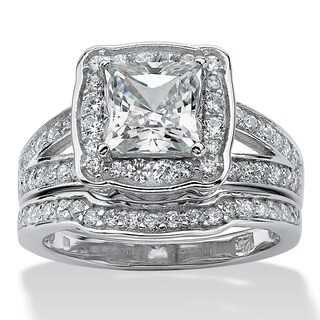 PalmBeach 2 Piece 2.50 TCW Princess-Cut Cubic Zicronia Bridal Ring Set in Platinum over Sterling Silver Glam CZ