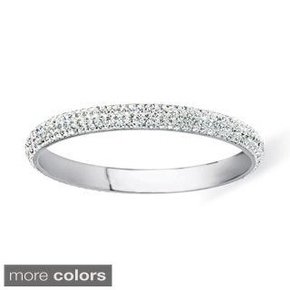 White, Red or Green Pave Crystal Bangle Bracelet in Silvertone Color Fun