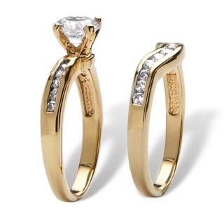 2 Piece 1.29 TCW Round Cubic Zirconia Bridal Ring Set in 18k Gold-Plated Classic CZ