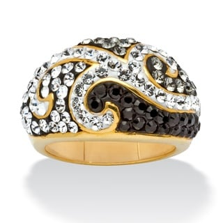 Jet Black, Grey and Crystal Scroll Ring made with SWAROVSKI ELEMENTS in 18k Gold-Plated Co