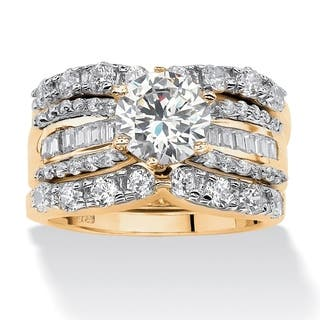 3 piece 562 tcw round cubic zirconia bridal ring set in 18k gold over sterling silver - Wedding Ring Sets For Women