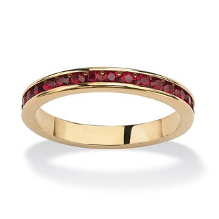 14k Goldplated Birthstone Stackable Eternity Band (Option: Tourmaline)