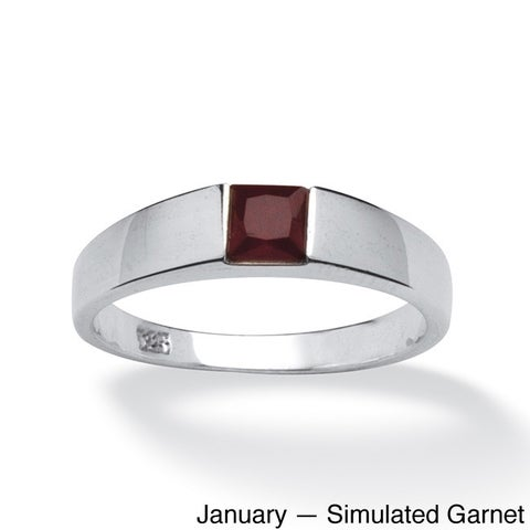 Princess-Cut Birthstone Stackable Ring in Sterling Silver Color Fun