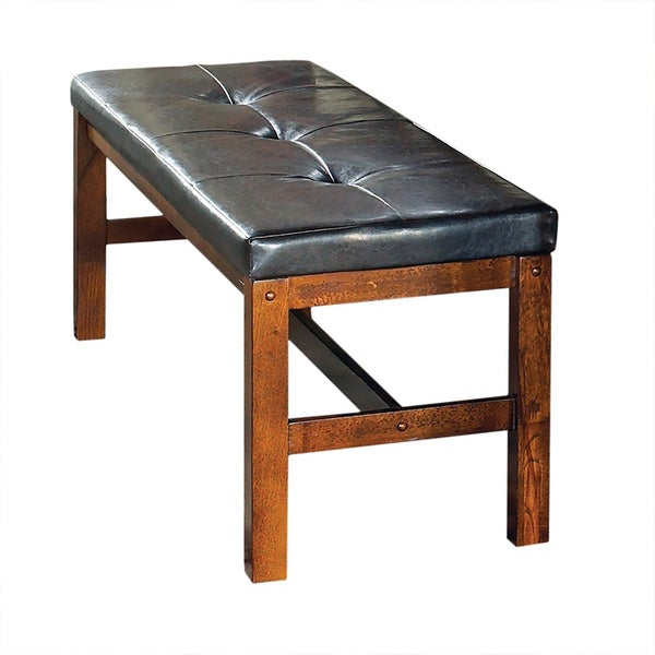 Lansing Medium Oak And Faux Leather Dining Bench By Greyson Living Free Shi
