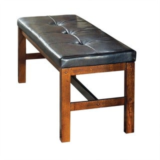Lansing Medium Oak and Faux Leather Dining Bench by Greyson Living