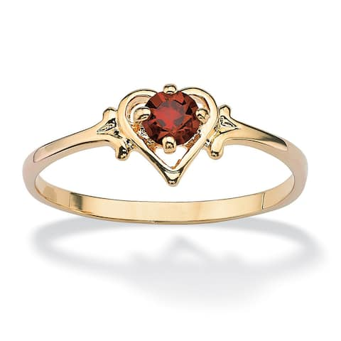 14k Goldplated Oval-Cut Birthstone Heart-Shaped Ring