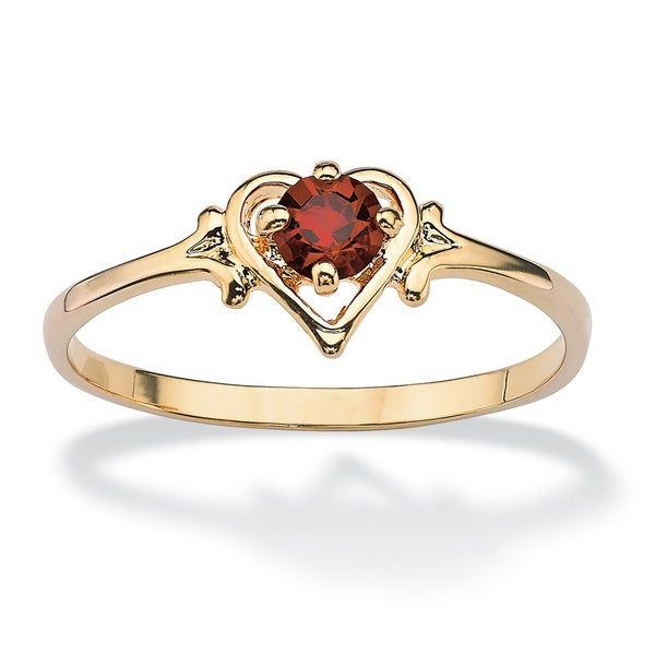 14k Goldplated Oval-Cut Birthstone Heart-Shaped Ring. Opens flyout.
