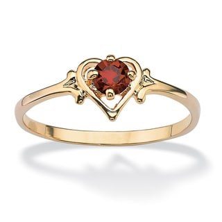 PalmBeach Oval-Cut Birthstone Heart-Shaped Ring in 14k Gold-Plated Color Fun