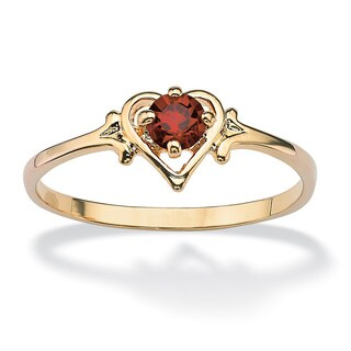 14k Goldplated Oval-Cut Birthstone Heart-Shaped Ring (More options available)