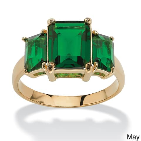 Emerald-Cut Triple Birthstone Gold-Plated Ring