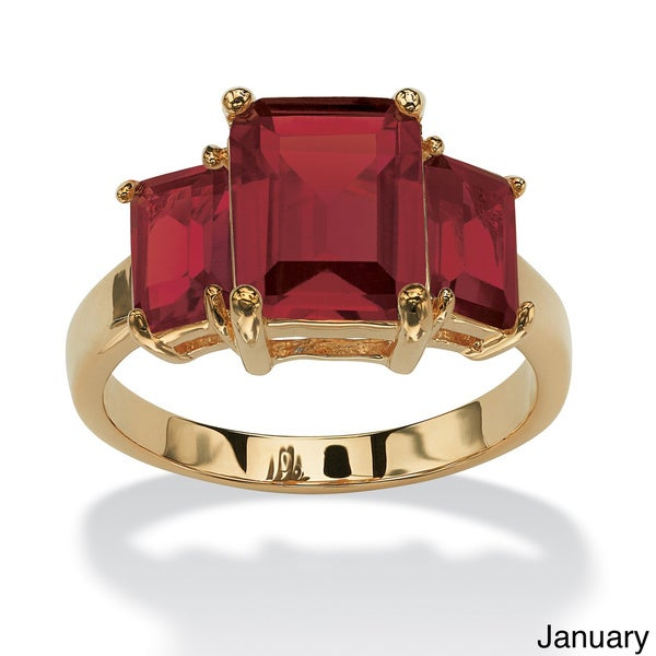 Emerald-Cut Triple Birthstone Gold-Plated Ring. Opens flyout.