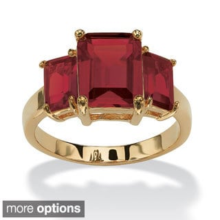 Emerald-Cut Triple Birthstone 18k Gold-Plated Ring