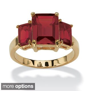 Emerald-Cut Triple Birthstone Gold-Plated Ring (More options available)