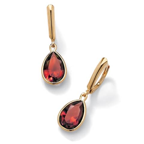 18k Goldplated Sterling Silver Pear-Cut Birthstone Drop Earrings