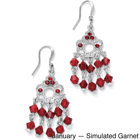 Round Birthstone Silvertone Chandelier Earrings Color Fun